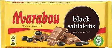 Marabou Black Saltlakrits - Barra de chocolate con leche (6.35oz)