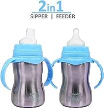 The Little Lookers Stainless Steel Newborn Baby (2 in 1) Sipper/Feeding Bottle | Steel Feeder Cum Sipper (Blue, 240 ML)