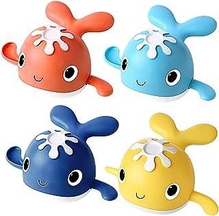 Anjetan 4PCS Wind up Whale Bath Toy Educational Floating Cute Animal Interactive Funny Bathtub Toy Interactive Bath Toy Wh...