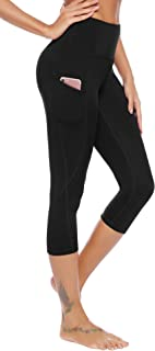 AUU High Waist Yoga Pants, Pocket Yoga Capris Tummy Control Workout Running 4 Way Stretch Yoga Leggings