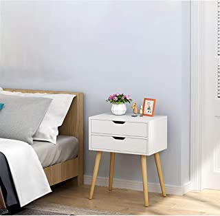Side End Table Nightstand with Storage Drawer, Mid-Century Accent Wood Furniture, Solid Wood Legs Cabinet Dormitory Bedroom Bedside Locker (A(W/2 Drawers), White)