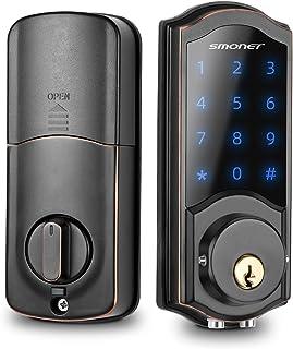 Smart Deadbolt, SMONET Bluetooth Door Lock Keyless, Touchscreen Keypad, Auto Lock, Remote Sharing, Send Ekeys, Free APP Monitoring, Easy to Install for Home, Hotel, Apartment, Black