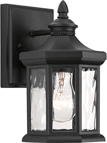 new arrival Edition Collection 1-Light Clear Water online sale Glass Traditional high quality Outdoor Small Wall Lantern Light Textured Black outlet sale