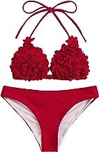 SOLY HUX Women's Sexy Halter Top Swimsuit Flower Appliques Triangle Bikini Set