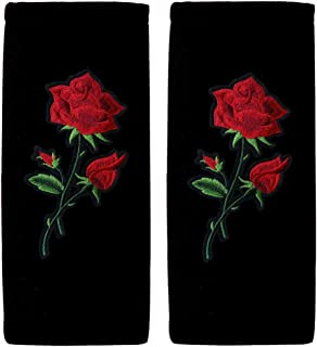 ALLBrand Car Truck Design Patch Embroidered Seat Belt Cover Shoulder Pad Cushion - Pair (Flower 1 / Black)