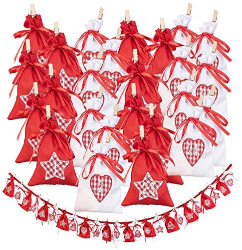 infactory Weihnachtskalender: Adventskalender-Girlande mit 24 XL-Säckchen, 15 x 10,5 cm, 185 cm lang (Adventskalender zum Befüllen)