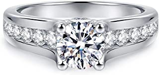 HAFEEZ CENTER 4-Prong Set 6.5mm 1ct Simulated Diamond Cubic Zirconia CZ Rhodium Plated on Silver Solitaire Engagement Ring Promise Ring Girls Women