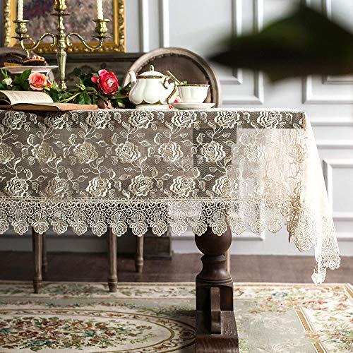ARTABLE Mantel de encaje rectangular dorado con bordado completo para bodas, fiestas, cenas (dorado, 140 x 240 cm)