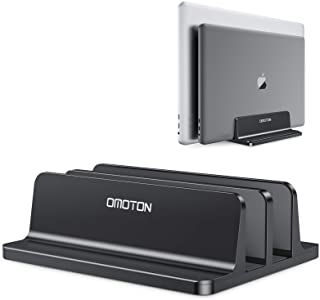 [Updated Dock Version] Vertical Laptop Stand, OMOTON Double Desktop Stand Holder with Adjustable Dock (Up to 17.3 inch), F...