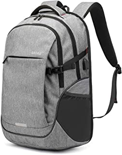 Travel Laptop Backpack,Travel Computer Backpack with USB Charging Port,35L Lightweight Water Resistant Anti Theft Computer Backpack for Laptops 20 inch, College School Travel Bag (Grey)