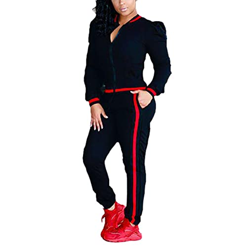eb7835f23cf9c Akmipoem Women s 2 Pieces Outfits Long Sleeve Zipper Jacket and Pants Set  Tracksuits