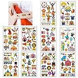 Tatouages Temporaire pour Enfants, 10 Feuilles Tatouage Ephemere de Cirque,Tatouages Ephémères Étanche pour Fille Garçons, Tattoos Enfants de Fête d'anniversaire Cadeau (Cirque)