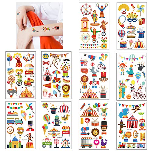 Tattoo Kinder, Zirkus Kinder Tattoo Set, 10 Bögen Süßes Tattoos Aufkleber für Mädchen Jungen, Temporäre Tattoos für Kinder zum Geburtstag Mitgebsel Party Halloween Weihnachts