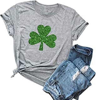 HRIUYI St Patricks Day Shirts Womens Short Sleeve Cute Graphic Irish Shamrock Holiday Tops Tees Shirt