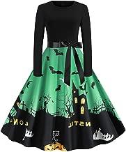 Women's Long Sleeve Halloween Print Vintage Dress,YuhooSun A-Line Bandage Bow Loose Flowy Swing Above Knee Midi Dresses