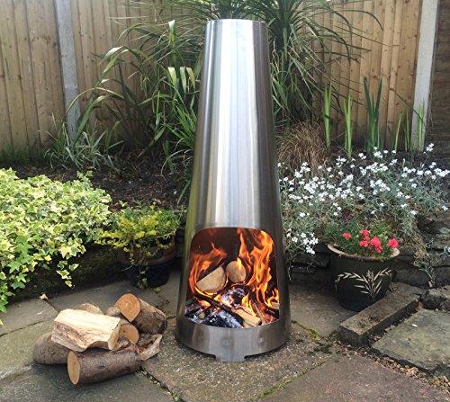 Made O' Metal Stainless Steel 110cm Garden Patio Cone Chimenea Log Burner Heater