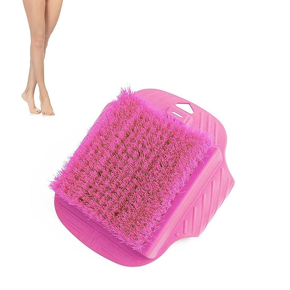 泣くレビュージャンク足ブラシ フットブラシ フットグルーマー スリッパ ブラシシャワースリッパ お風呂で使える角質ケアブラシ 足の匂い消し 健康グッズ (ピンク)