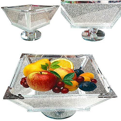 Sparkly Silver Fruit Bowl | Glossy and Crushed Diamond with Crystal Filled | Bring a Touch of Chic and Sparkle to Your Kitchen | Gifts for All Occasion and Perfect for Kitchen & Dining Table Décor