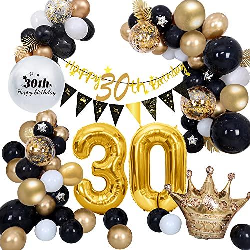 AcnA 30 Ans Decoration Anniversaire Noir Or, Ballon Anniversaire 30 with Ballon 30 Ans Décorations de Fête, 30 Banderole Joyeux Anniversaire pour Homme Femme Deco 30 ans anniversaire Réutilisable