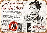1953 A&Pコーヒー。ティンサインヴィンテージアイアンペインティングメタルプレートノベルティデコレーションクラブカフェバー。