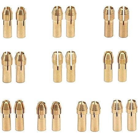 Ottone Collet per Dremel,BETOY 2 Set Ottone Collet Tools Piccolo Ottone Punte per Utensili Dremel per Trapano Elettrico,0,5-3,2 mm