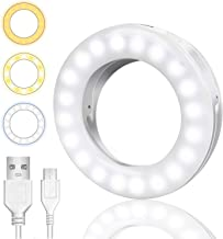 Monwillado Selfie Ring Lights, Clip-on LED Ring Lights [USB Rechargeable] with 3 Light Modes, Selfie Circle Lights for iPhone Android iPad Laptop Smart Phones Photography Video Girl Makes-up (White)