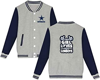 Dallas Cowboys Jacket Men Women Slim Fit Varsity Baseball Jacket Bomber Coat,Black,