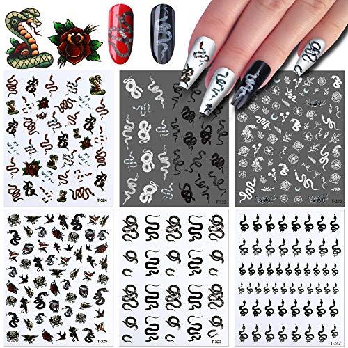 VETPW 6 Blatt Schlange Nagelsticker, 3D Drachen Schädel Blumen Muster Nagelaufkleber Selbstklebende Abziehbilder für DIY Nagelkunst Abziehbilder, DIY Nagelspitzen Dekoration