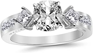 3.75 Ctw 14K White Gold Channel Set 3 Three Stone Princess GIA Certified Diamond Engagement Ring Cushion Cut (3 Ct H Color VS2 Clarity Center Stone)