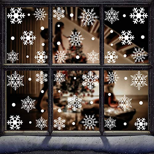 DARUITE Adornos Pegatinas Navidad 8 Hojas 124 Copos de Nieve Vinilos para Ventanas Navidad Decoración Escaparates