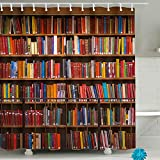 Library Bookshelf Shower Curtain Sets Vintage Children Educational Bookcase Shower Curtain Books Fabric Polyester Waterproof Bathroom Decor Accessories with Hooks 71'(W) x 71'(H)