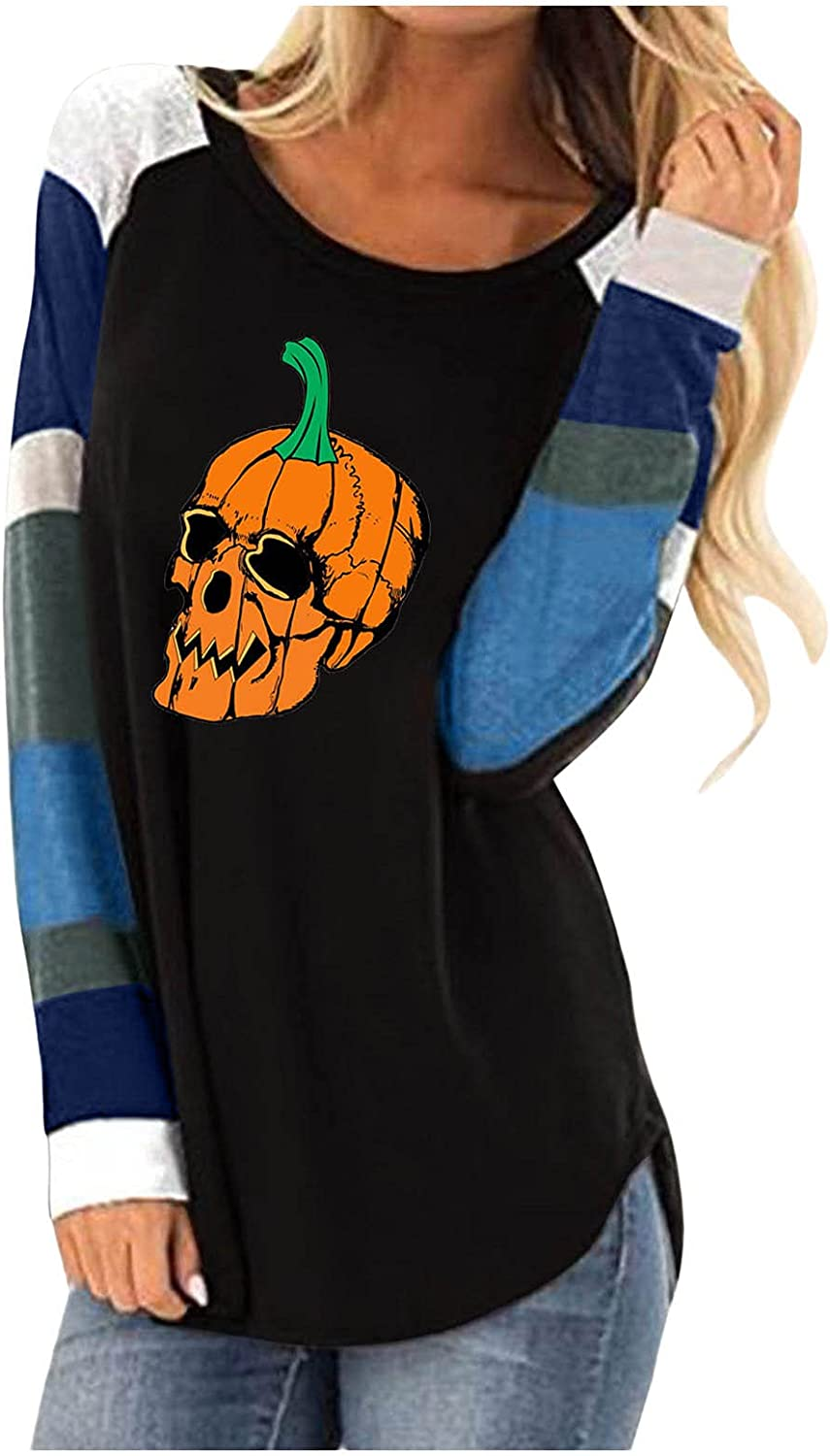 INESVER Plus Size Sweatshirt for Women Casual Loose Autumn Long Sleeve Sweater Stripe O Neck Pullovers