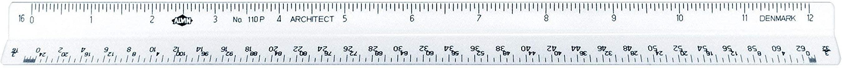Alvin, 110P, High Impact Plastic Architect Triangular Scale, 12