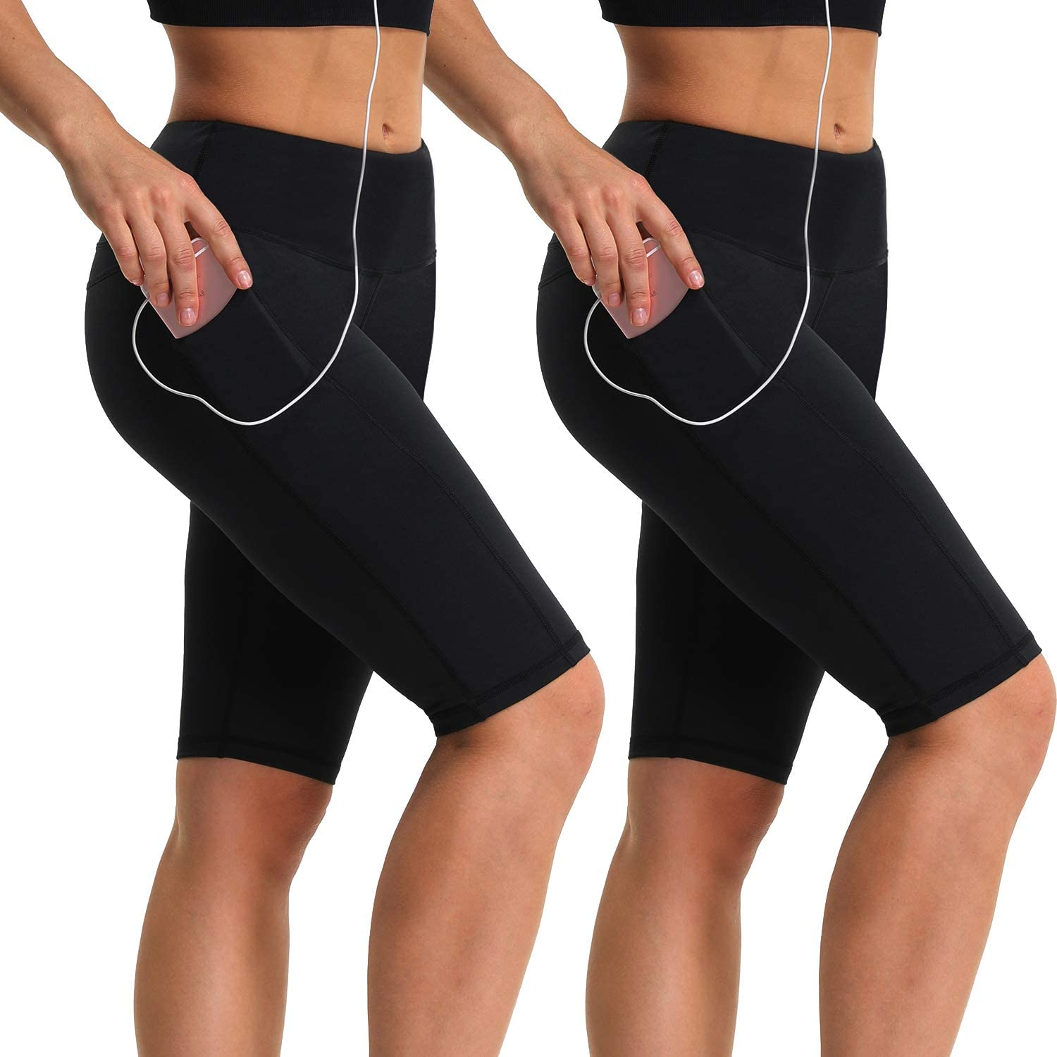 SouqFone Workout Shorts for Women with Pockets High Waisted Biker Shorts Yoga Running Exercise Shorts Leggings
