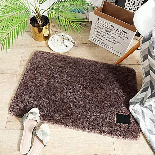 hwljxn Alfombra de baño, alfombras Extra Suaves y absorbentes absorbentes, sin Deslizamiento, Lavable a máquina, para bañera, Ducha y baño, marrón, 60 * 90 cm