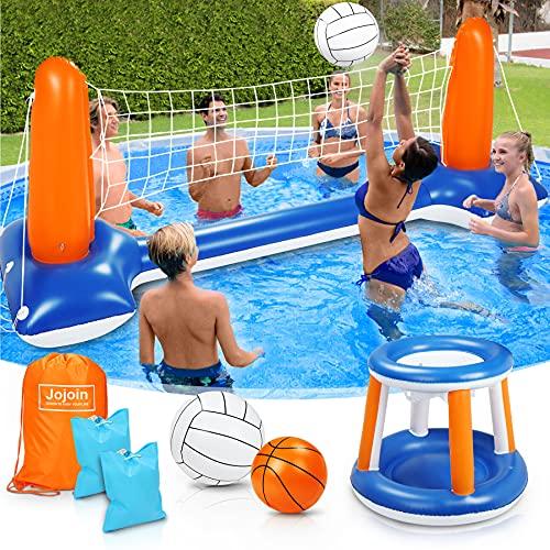 Jojoin Ensemble de Volley-Ball Gonflable, 290 cm Jeu de Volley Flottant Comprend Un Cerceau de Basket-Ball et Une Balle, Un Jeu de Volley-Ball de Piscine Flottante pour Enfants et Adultes