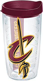 Tervis 1277864 NBA Cleveland Cavaliers Colossal Tumbler with Wrap and Maroon Lid 16oz, Clear