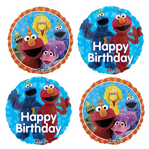 Sesame Street Birthday Party Balloons - 4 Happy Birthday Balloon Decorations In 2 Designs For A Sesame Street Cookie Monster, Elmo, Big Bird, Abby Cadabby, and Oscar the Grouch Bouquet Banner
