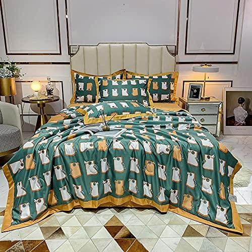 Meet Beauty Edredones De Verano Cama 150,Conjunto Colcha De Verano De Tencel, Facilitación Y Diseño Reversible Seda Súper Suave, Lavable-K_200x230cm (78'x 90') Una Colcha