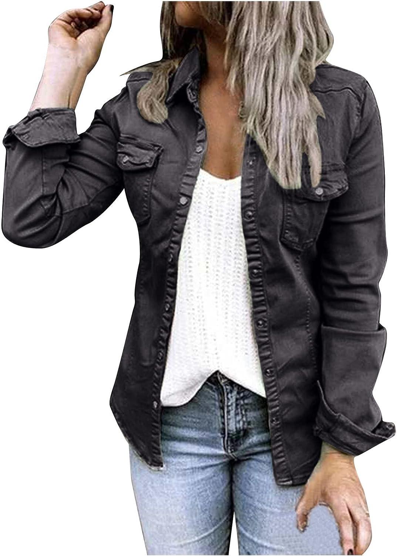 Hemlock Women Button Down Denim Jackets Retro Cowboy Coat Slim Fit Jean Jackets Autumn Thin Coats Cardigans