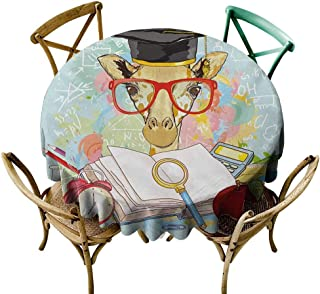 Wendell Joshua Round Outdoor Tablecloth 36 inch Graduation,Hipster Giraffe Animal with Glasses and Cap Geek Student in Education School,Multicolor 100% Polyester Spillproof Tablecloths