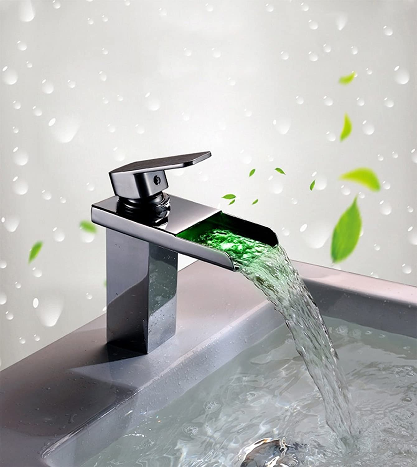 European-style retro basin faucet Intelligent LED luminous color temperature of hot and cold taps Creative washbasin full copper waterfall basin faucet SLT