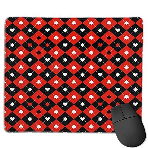 Dekoratives Gaming-Mauspad,Poker Turnier Karte Anzug Schachbrett Klassis,Bürocomputer-Mausmatte mit rutschfester Gummibasis