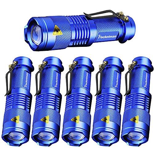 Pocketman SK-68 - Linterna táctica con 3 modos de zoom (6 unidades, 7 W, 300 lm)
