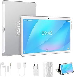 YESTEL Tablet 10 Pulgadas Android Tablet PC con 4GB RAM 64GB ROM + Expandido 128GB Quad Core LET Dual SIM 8000mAh con Teclado-Plata