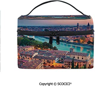 Printed Portable Travel Makeup Cosmetic Bag Verona Italy During Summer Sunset Blue Hour Adige River Medieval Historcal Durable storage bag for Women Girls