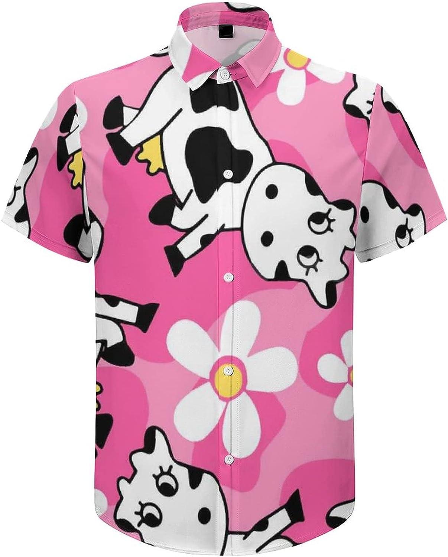 Men's Short Sleeve Button Down Shirt Cute Pink Cow Flowers Summer Shirts