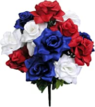 Admired By Nature GPB293-RD/WT/BL 12 Stems Veined Satin Rose Bush, Red/White/Blue, Piece