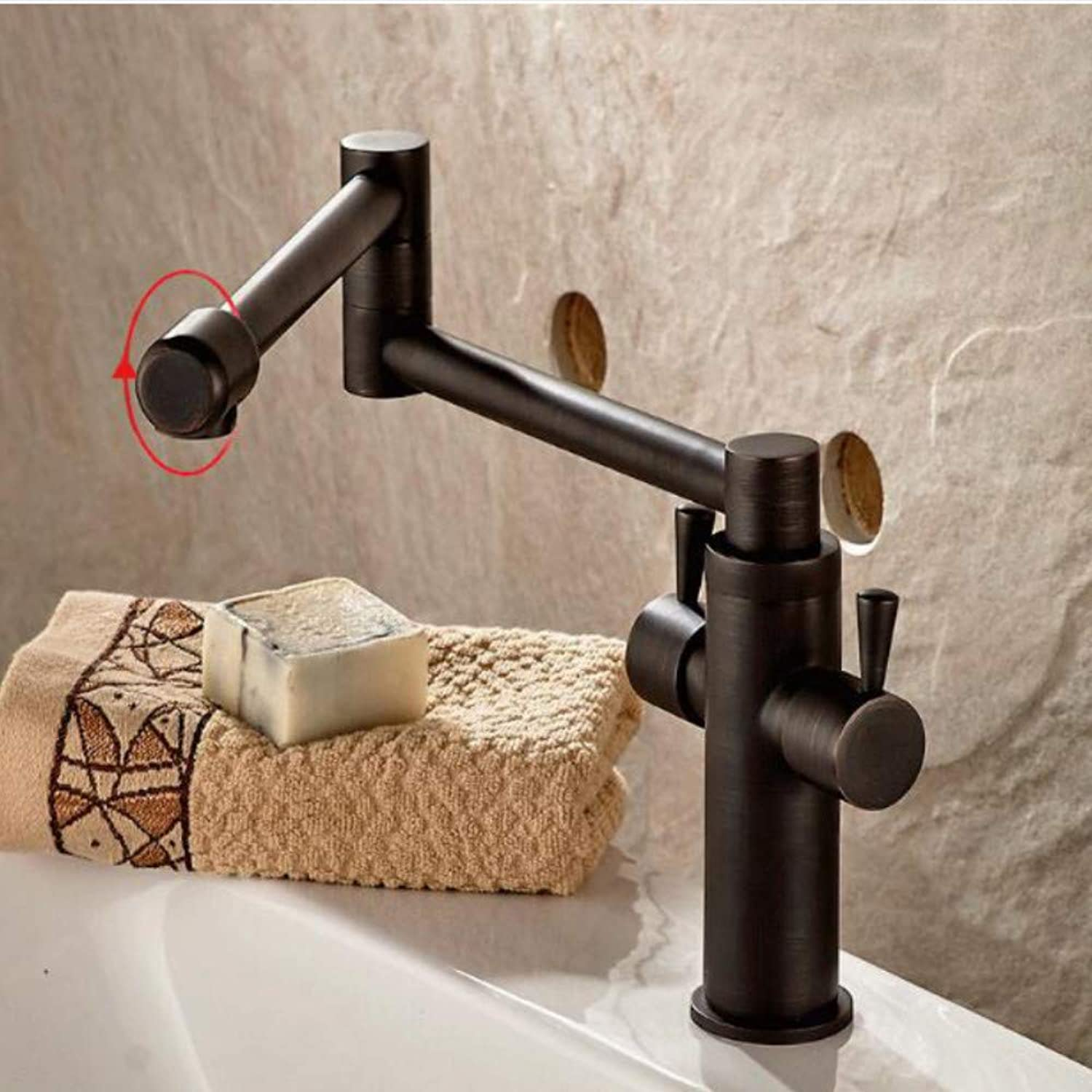 Lddpl New Style Black Bronze Copper Folding Kitchen Faucet Double Handles for Cold and Hot Water Mixer Xt509