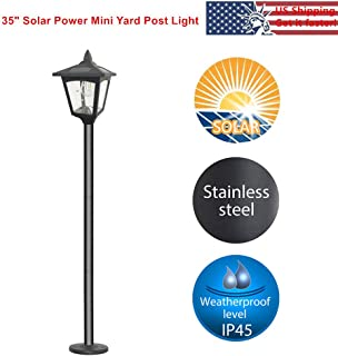 42 Inches Mini Street Post Outdoor Garden Solar Lamp Post Light Lawn - Adjustable (Pack 1)